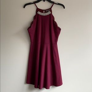 🌹Red Dress With Diamond & Pearl Neck🌹